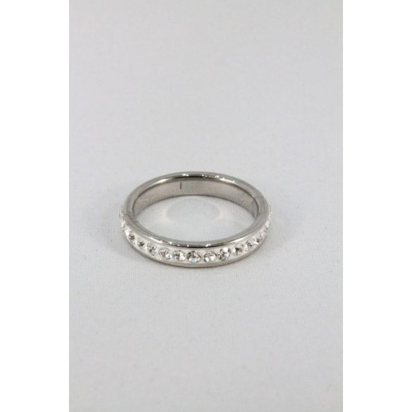 Nemesacél egysoros ragasztott kristályos gyűrű