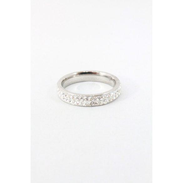 Nemesacél kétsoros ragasztott kristályos gyűrű