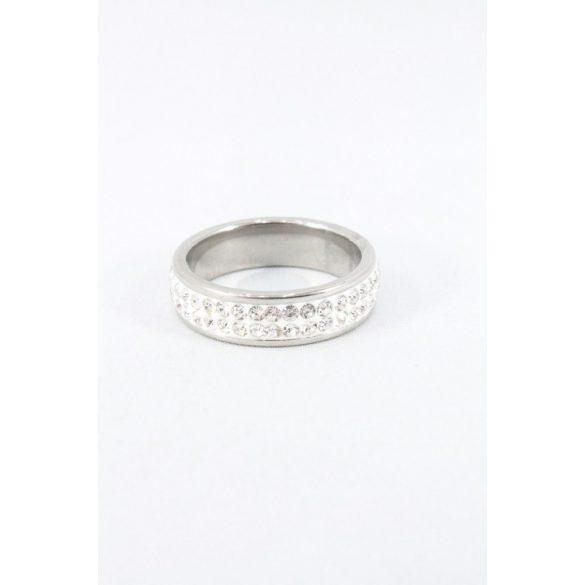 Nemesacél kétsoros ragasztott kristályos gyűrű 6mm