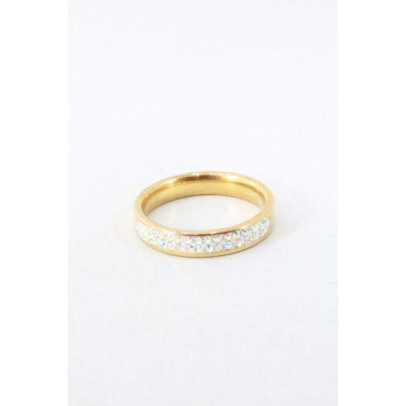 Nemesacél háromsoros ragaztott kristályos gyűrű, színváltós aranyozott