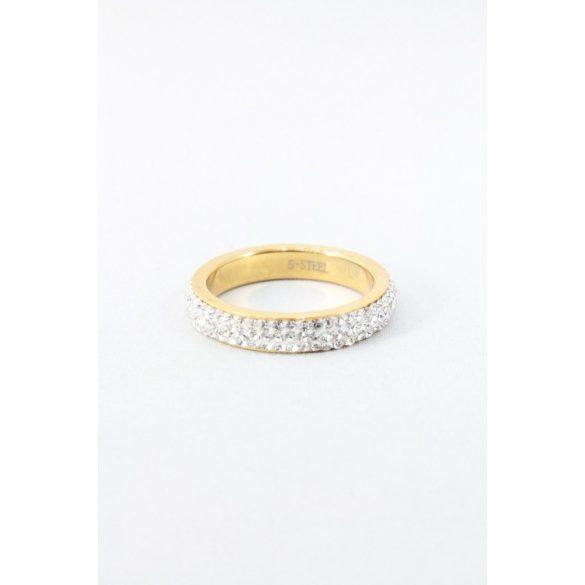 Nemesacél háromsoros ragaztott kristályos gyűrű, aranyozott
