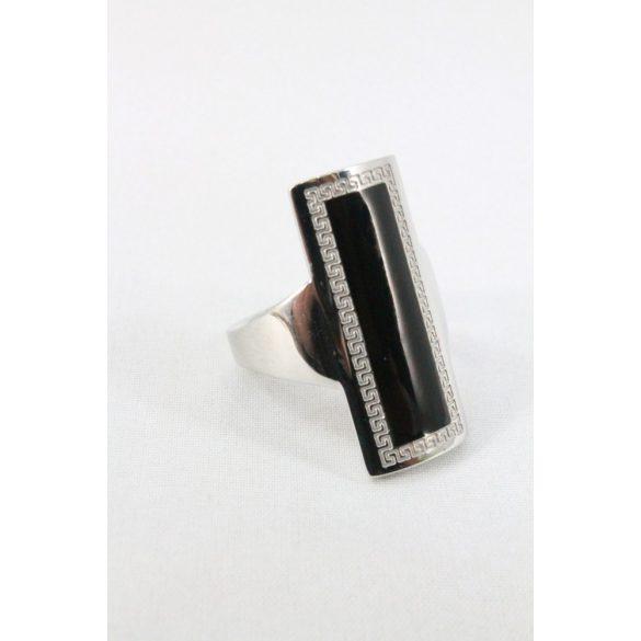 Nemesacél egyiptomi mintás fekete téglalap gyűrű 28mm