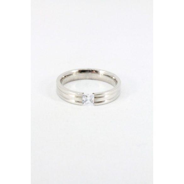 Nemesacél négyzet kristályos gyűrű, 4mm