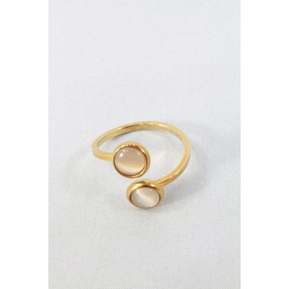 Nemesacél szürke kétköves gyűrű, aranyozott