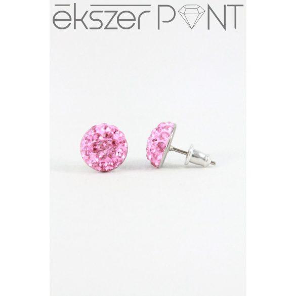Nemesacél Swarovski aprókristályos beszúrós fülbevaló 10mm, világos színek