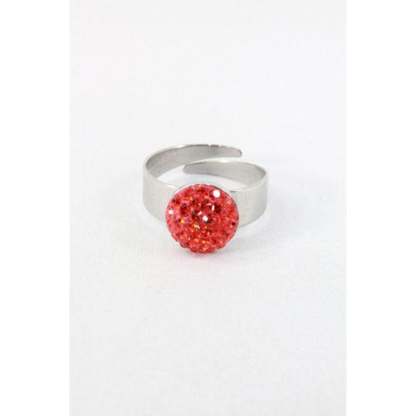 Nemesacél Swarovski aprókristályos gyűrű 11mm