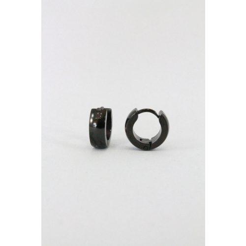 Nemesacél karika fülbevaló 10mm, fekete