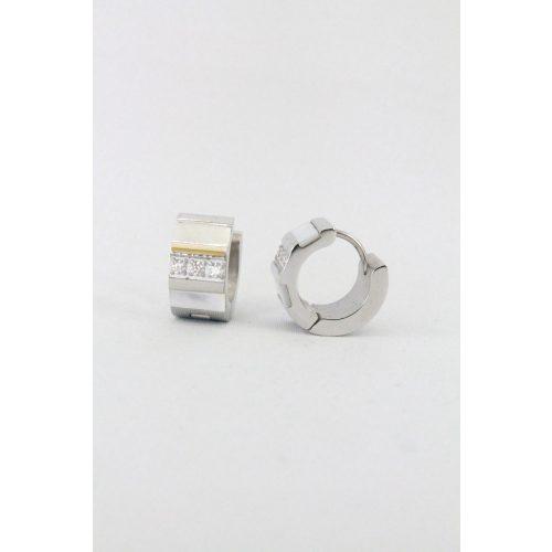 Nemesacél kristályos- gyöngyházas karika fülbevaló, 14mm