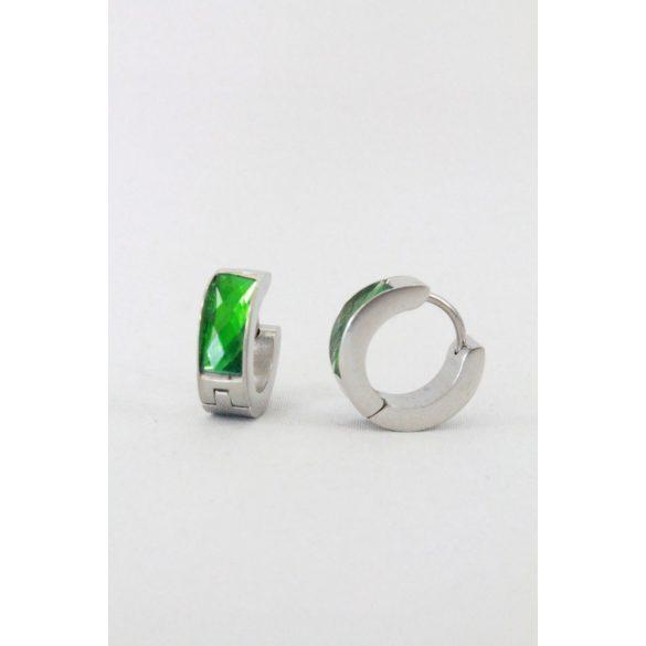 Nemesacél Fazettált kristályos karika fülbevaló, 14mm Zöld