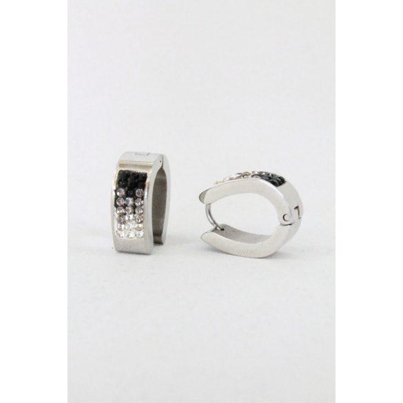 Nemesacél apró kristályos Ovális fülbevaló, 16mm Fekete