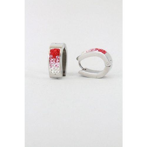 Nemesacél apró kristályos Ovális fülbevaló, 16mm Piros
