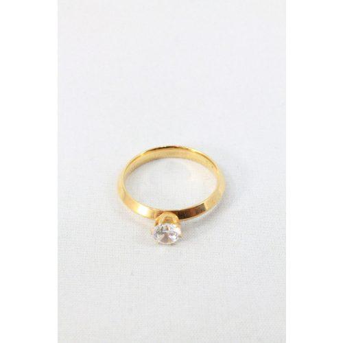 Nemesacél egykristályos gyűrű, aranyozott