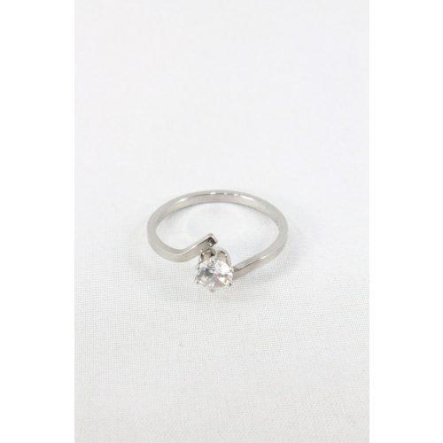 Nemesacél egy kristályos foglalatos gyűrű, natur