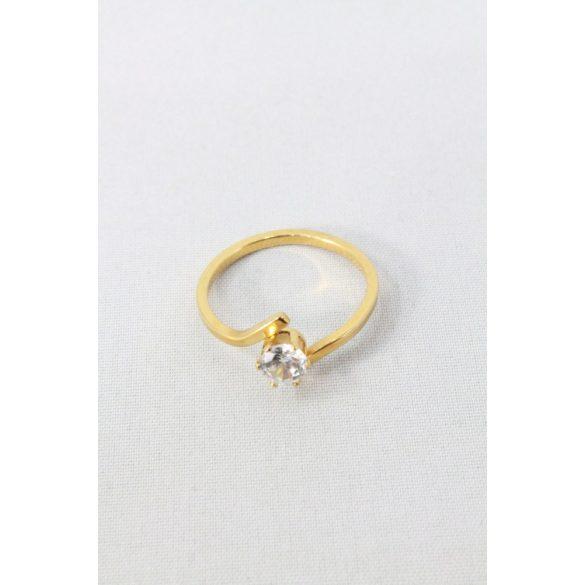 Nemesacél egykristályos íves gyűrű, aranyozott