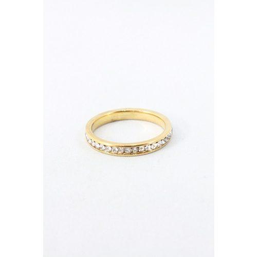 Nemesacél egysoros foglalt kristályos gyűrű, aranyozott