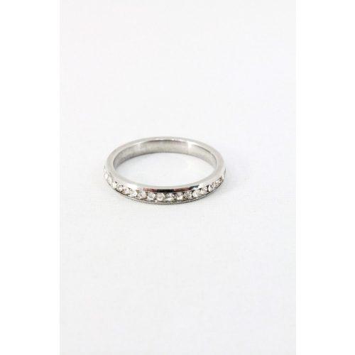 Nemesacél egysoros kristályos foglalatos gyűrű