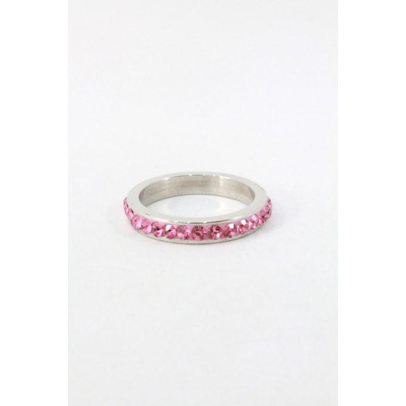 Nemesacél egysoros kristályos gyűrű, rózsaszín
