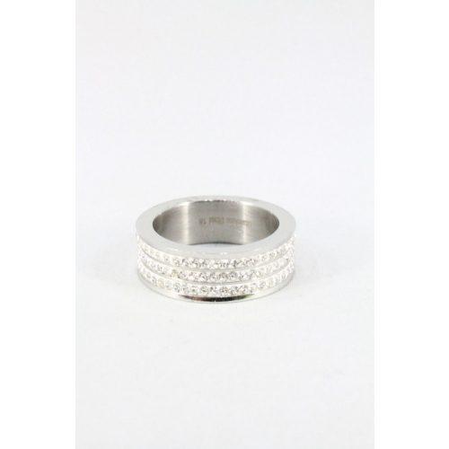 Nemesacél háromsoros kristályos gyűrű, natur