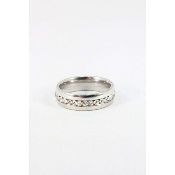 Nemesacél egysoros kristályos gyűrű 6mm