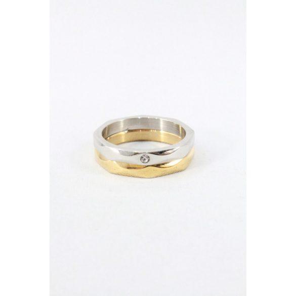 Nemesacél kétszínű egypöttyös gyűrű