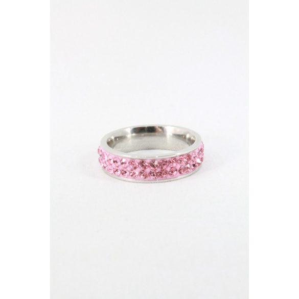 Nemesacél kétsoros kristályos gyűrű, világos rózsaszín