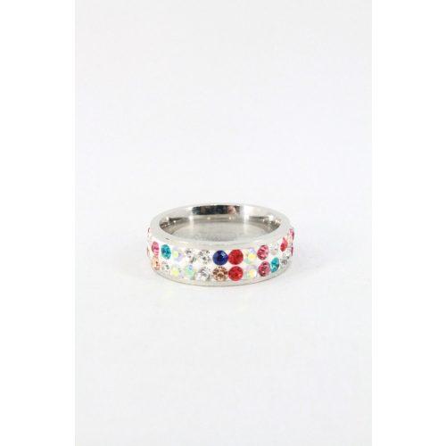 Nemesacél kétsoros kristályos gyűrű, vegyes szín
