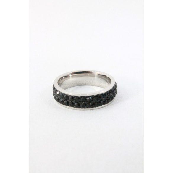 Nemesacél kétsoros fekete kristályos gyűrű, 6mm