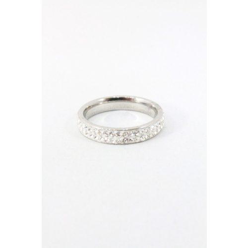 Nemesacél kétsoros kristályos gyűrű