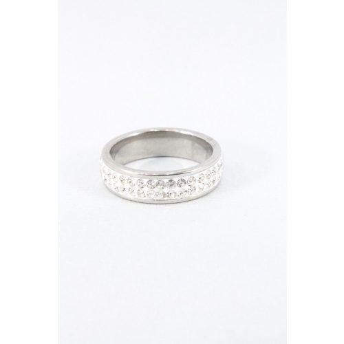 Nemesacél kétsoros kristályos gyűrű, 6mm