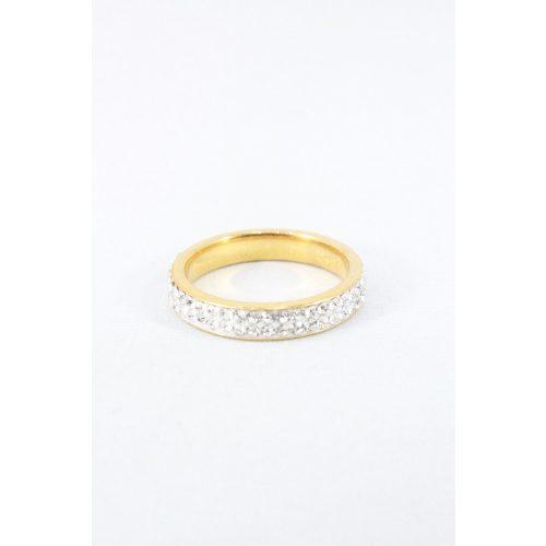 Nemesacél kétsoros kristályos gyűrű, aranyozott