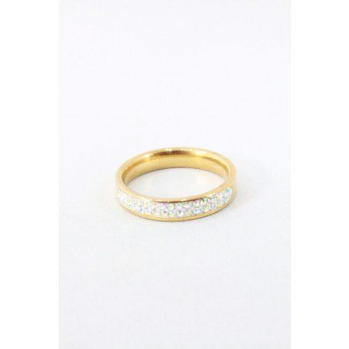 Nemesacél háromsoros kristályos gyűrű, színváltós aranyozott