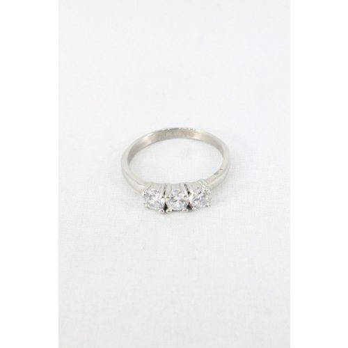 Nemesacél három kristályos foglalatos gyűrű, natur