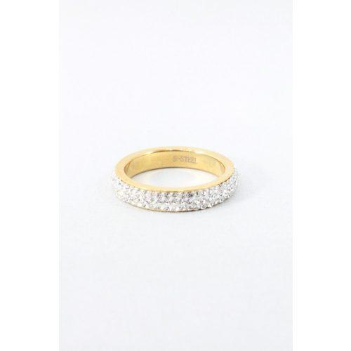 Nemesacél háromsoros kristályos gyűrű, aranyozott
