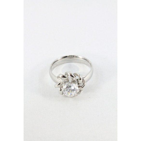 Nemesacél csavartmintás kristályos foglalatos gyűrű