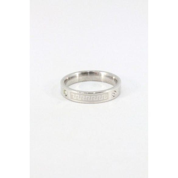Nemesacél Egyiptomi mintás kristályos gyűrű