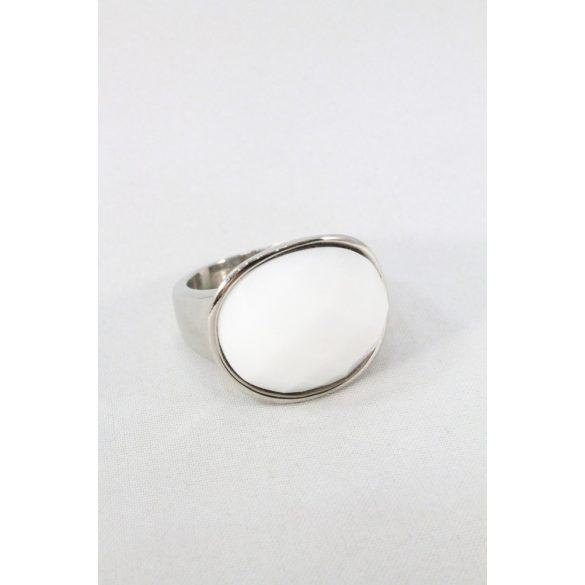 Nemesacél fehér fazettált köves ovális gyűrű 20mm