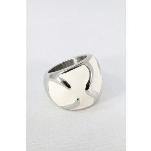 Nemesacél fehér tűzzománcos gyűrű 22mm