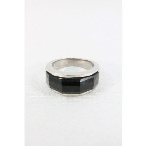 Nemesacél fekete fazettált köves gyűrű 7mm