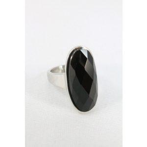 Nemesacél fekete fazettált köves ovális gyűrű 27mm