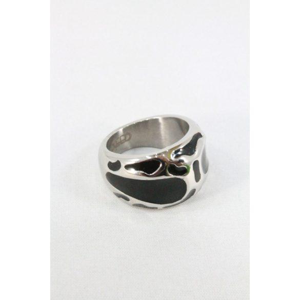 Nemesacél fekete tűzzománcos gyűrű 19mm