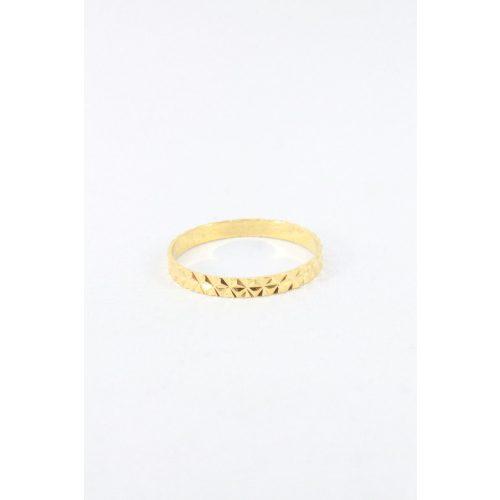 Nemesacél gyémántcsiszolású gyűrű, aranyozott