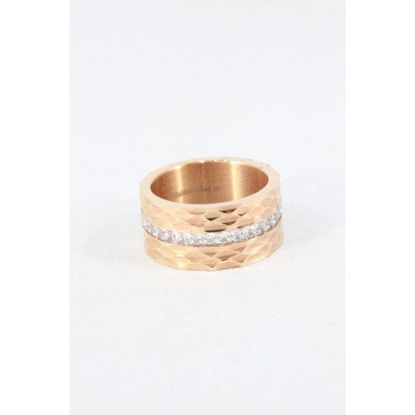 Nemesacél gyémántcsiszolású kristályos gyűrű, rózsaarany
