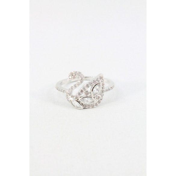 Nemesacél hattyús kristályos foglalatos gyűrű