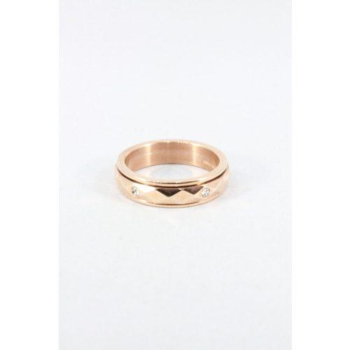 Nemesacél  kristályos forgó gyűrű, rózsaarany