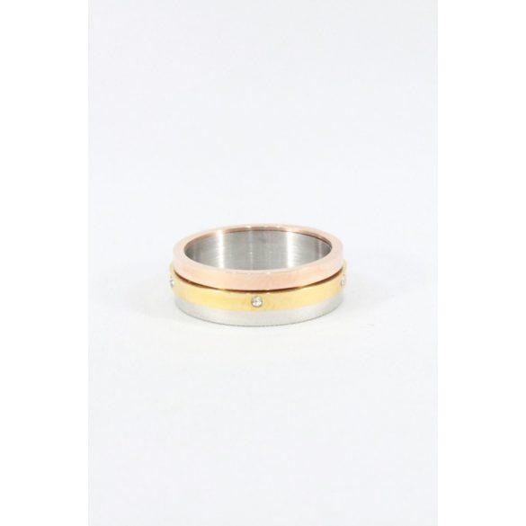 Nemesacél  kristályos forgó gyűrű, háromszínű