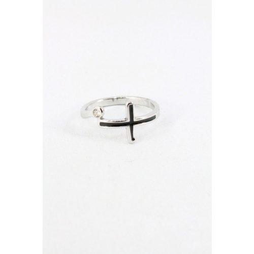 Nemesacél keresztes kristályos gyűrű, fekete
