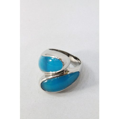Nemesacél kék szirom köves gyűrű
