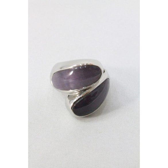 Nemesacél lila szirom köves gyűrű