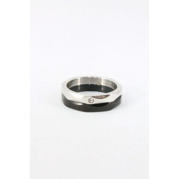 Nemesacél  Pöttykristályos fekete-natur gyűrű