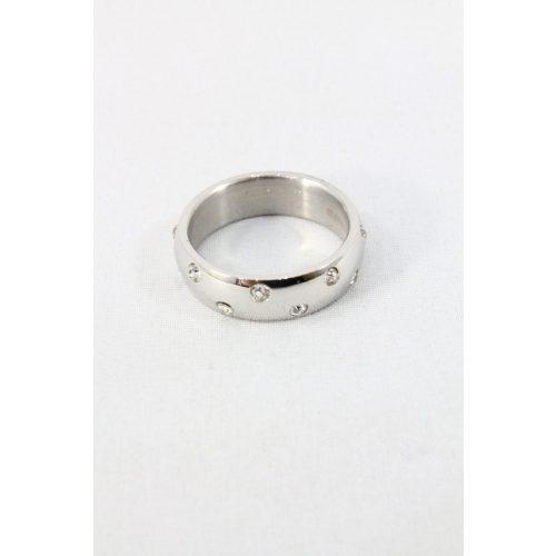 Nemesacél pöttyözött kristályos gyűrű, natur